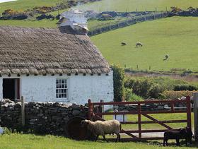 Isle of Man: Weißes Cottage mit rauchendem Kaminschlot und einladend offener Tür
