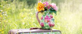 Koffer auf grüner Wiese mit bunten Blumenstrauß dekoriert
