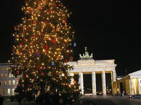 Brandenburger Tor im Dunklen mit geschmücktem Weihnachtsbaum